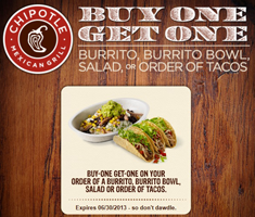 photograph relating to Chipotle Printable Coupon named BOGO No cost Chipotle Mexican Grill Coupon (Words) - Hunt4Freebies