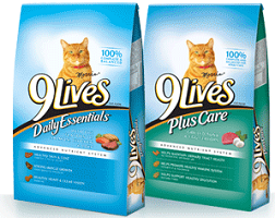 9 Lives Dry Cat Food $1 off Bag of 9 Lives Dry Cat Food 3lb+ Coupon