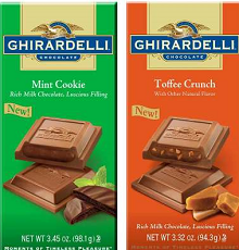 Ghirardelli Toffee Crunch Bar an Mint Cookie Bar