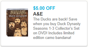Duck Dynasty Coupon $5 off Duck Dynasty Seasons 1 3 Collectors Set on DVD Coupon