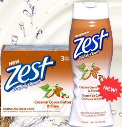 Zest Creamy Cocoa Butter Body Wash $1 off Zest Creamy Cocoa Butter Body Wash or Bar Soap Coupon