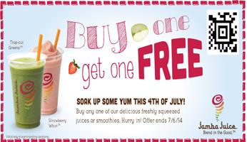 graphic relating to Jamba Juice Printable Coupon referred to as Jamba Juice: BOGO Cost-free Smoothie or Juice Coupon - Hunt4Freebies
