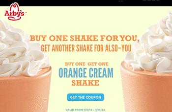 ... Buy One Get One FREE Orange Cream Shake Coupon ! Expires 7/15