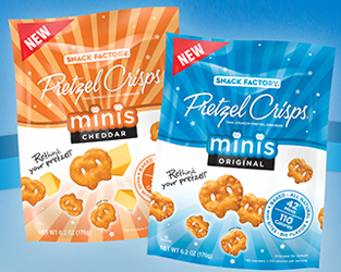 Snack Factory Pretzel Crisps Minis $1 off Snack Factory Pretzel Crisps Minis Coupon
