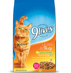 9 lives Lean Tasty Cat Food $2.50 off Bag of 9 lives Lean & Tasty Cat Food 20lbs+ Coupon