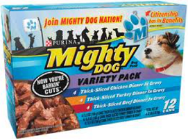 Mighty Dog dog food $4.50 off two 12 ct packs of Mighty Dog dog food Coupon