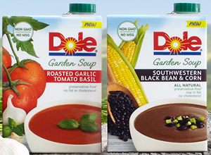 Carton of Dole Garden Soup $1 off Carton of Dole Garden Soup Coupon