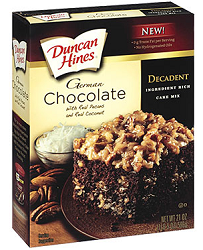 Duncan Hines Decadent Cake Mix1 $.75 off Duncan Hines Decadent Cake Mix or Decadent Brownie Mix Coupon