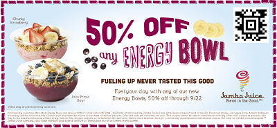 Energy Bowl Jamba Juice 50% off Energy Bowl at Jamba Juice