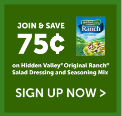 Hidden Valley Dressing $.75 off Hidden Valley Dressing Mix or Dry Dips Coupon