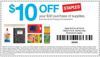 Technology coupons for staples