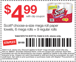 Staples Coupons Scott Paper Towels Staples Coupons: Scott Paper Towels 6 Mega Rolls for $4.99