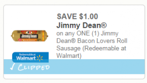 Jimmy Dean Bacon Lovers Roll Sausage 300x171 $1 off Jimmy Dean Bacon Lovers Roll Sausage Coupon