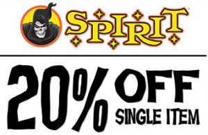 Spirit Halloween 300x195 Spirit Halloween: 20% off One Item Purchase Coupon