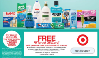 Target Ad Coupon Target: FREE $5 Gift Card with Purchase of $15 Personal Care Items