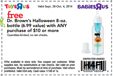 Toys r us offer Toys R Us and Babies R Us: FREE Dr Browns Halloween Bottle w/ $10 Purchase Coupon