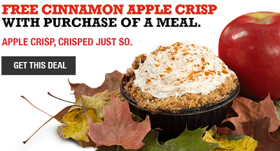 FREE Cinnamon Apple Crisp FREE Cinnamon Apple Crisp w/ Meal Purchase at Arby's