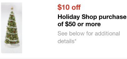 Holiday Purchase Coupon New Target Mobile Coupon: Save $10 on a $50 Holiday Purchase