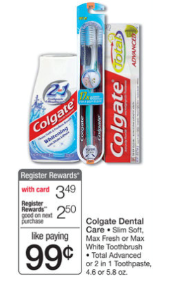 RR Deal Colgate Total Toothpaste for Only $.24 at Walgreens