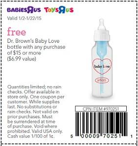 FREE Dr. Brown's Bottle w/ $15 Purchase at Babies R Us and Toys R ...