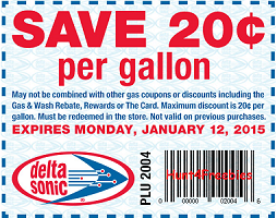 image regarding Sonic Printable Coupon called Delta Sonic: $.20 off For every Gallon of Gasoline Coupon - Hunt4Freebies