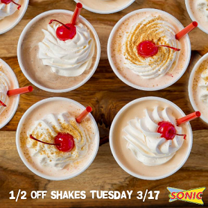Half Price Shakes at Sonic