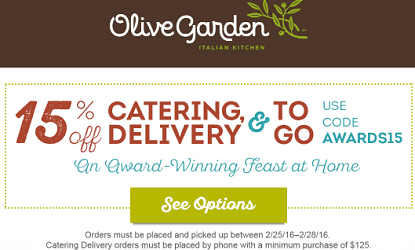 Olive garden 15 off catering and togo coupon code hunt4freebies for Olive garden coupons october 2016