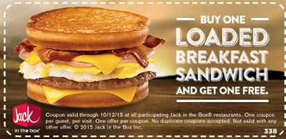 graphic relating to Jack in the Box Printable Coupons identify BOGO Free of charge Prosperous Breakfast Sandwich at Jack inside of the Box