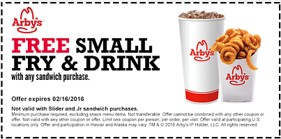 Arbys Coupon FREE Small Fry Drink
