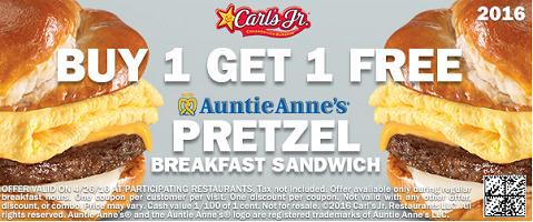 BOGO FREE Auntie Annes Pretzel Breakfast Sandwich