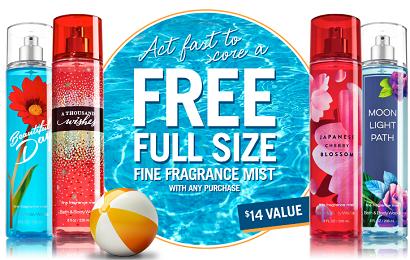 Bath Body Works FREE Full Size Fragrance