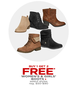 0fe516fc8d6f8 Today Only JCPenney.com is offering Buy 1 Get 2 FREE Pairs of Select  Women s Boots and Girls Boots sale! The discount will be automatically  applied at ...